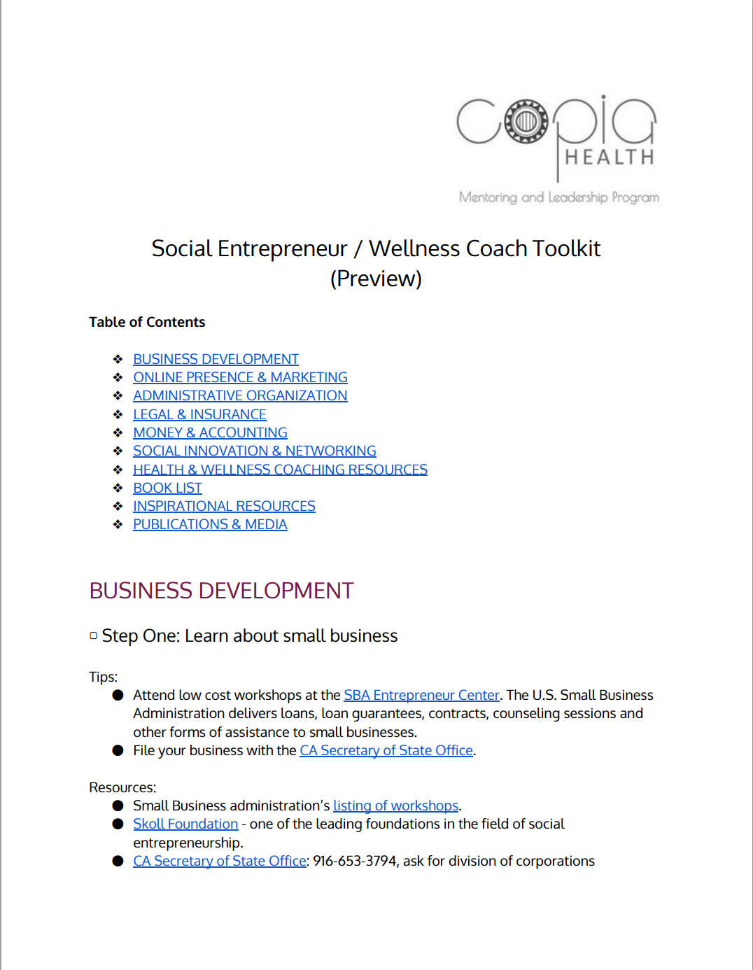 SOCIAL ENTREPRENEUR / WELLNESS COACH TOOLKIT (PREVIEW)