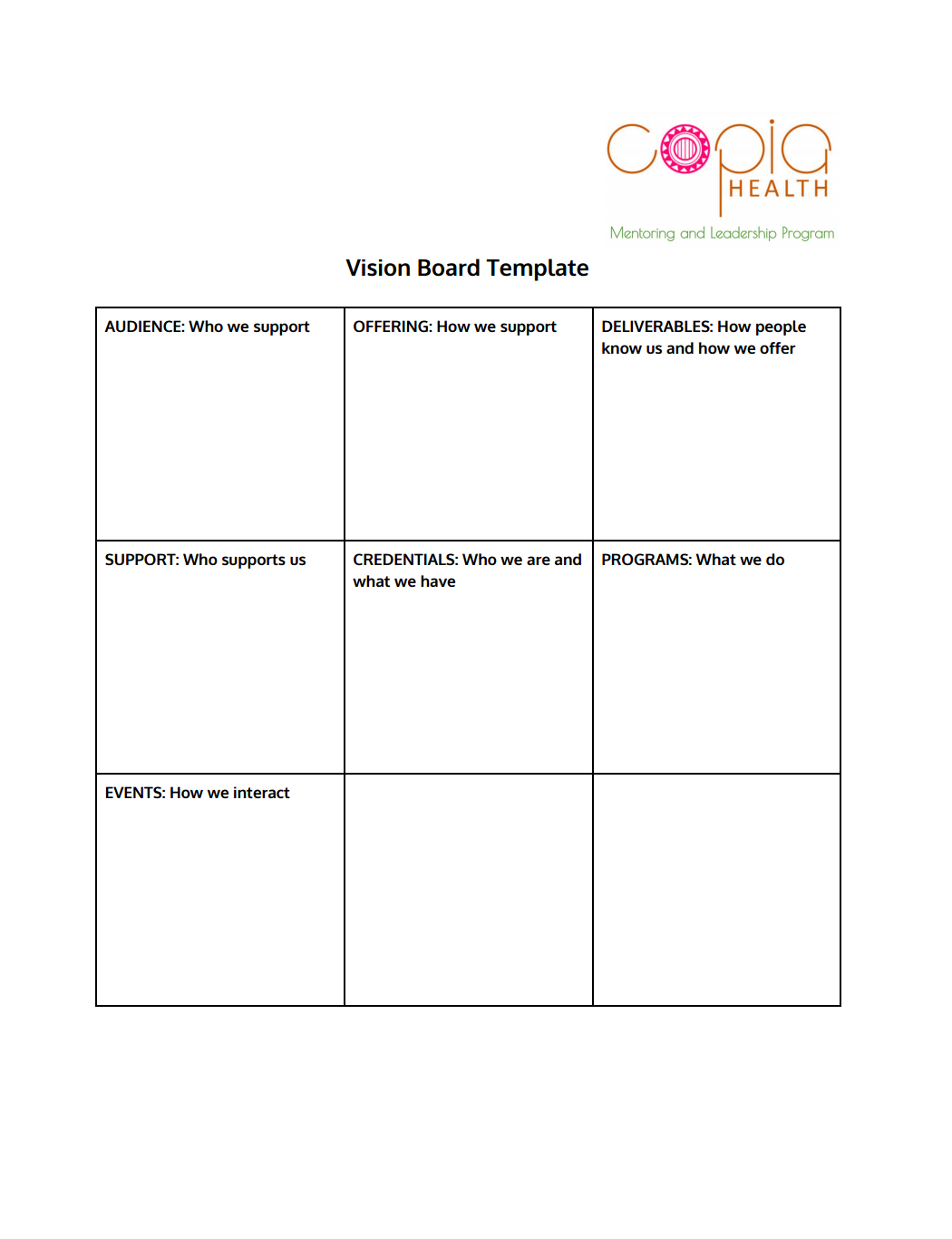 VISION BOARD TEMPLATE ACTIVITY