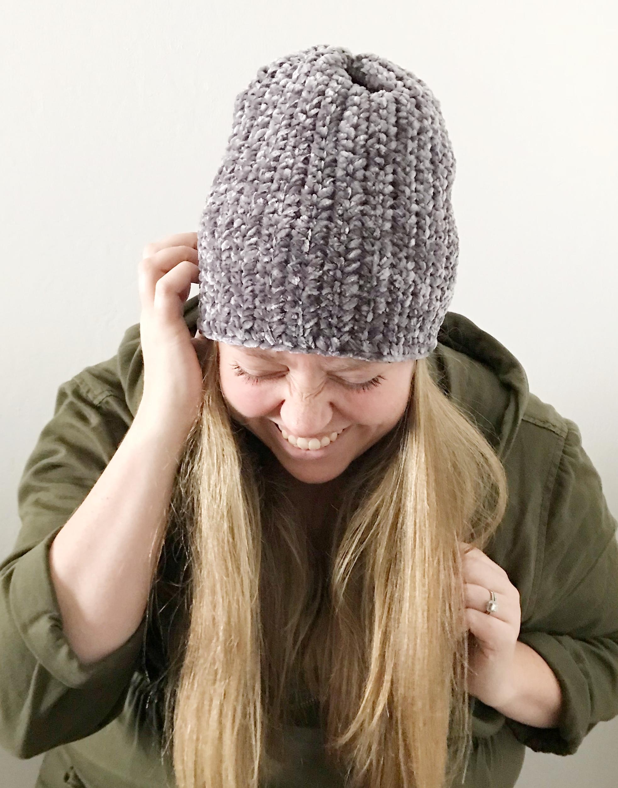 Free velvet crochet hat pattern