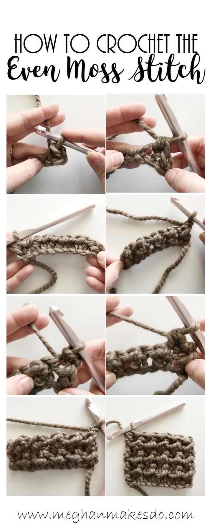 even moss stitch crochet tutorial