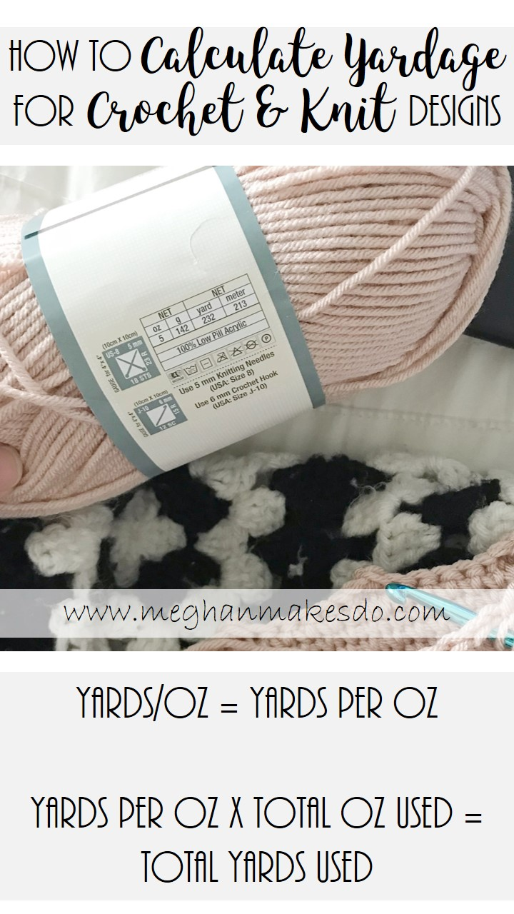 how to calculate yardage used in a crochet project