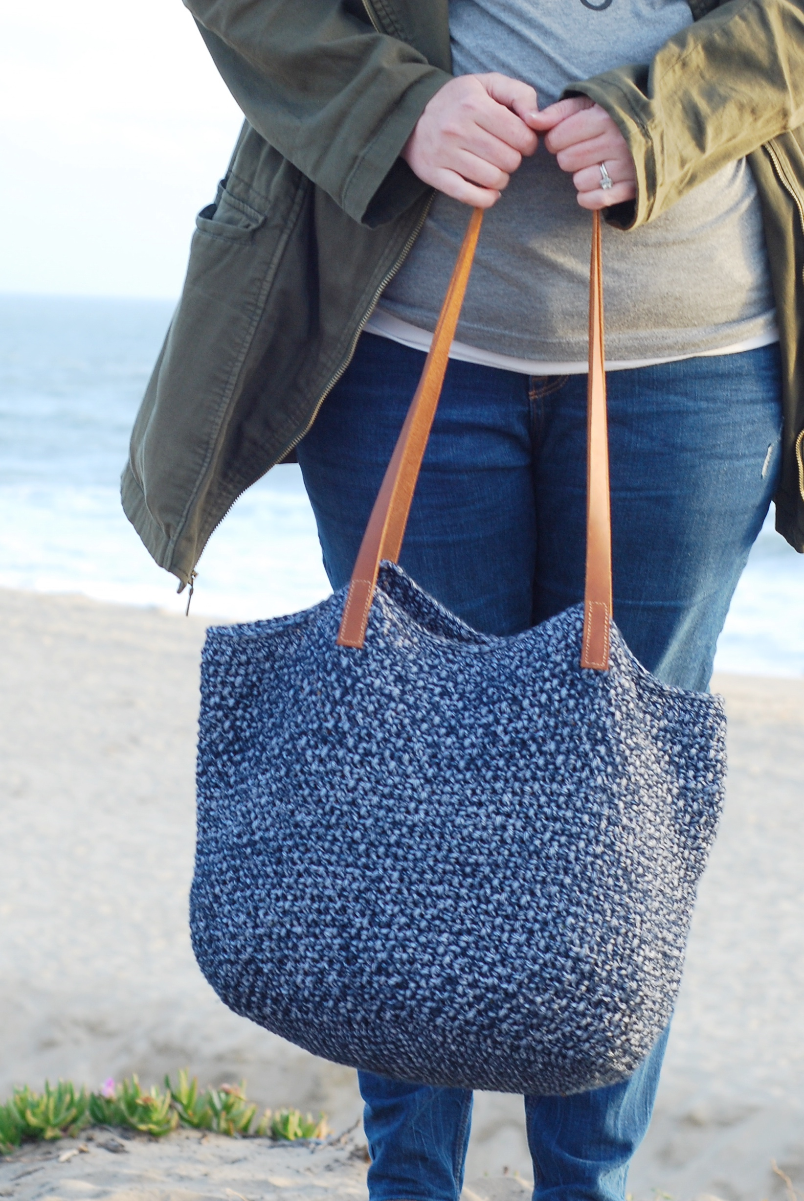 crochet bag with leather handles