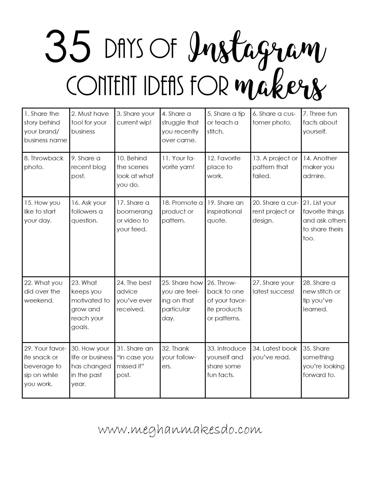 instagram content calendar for makers