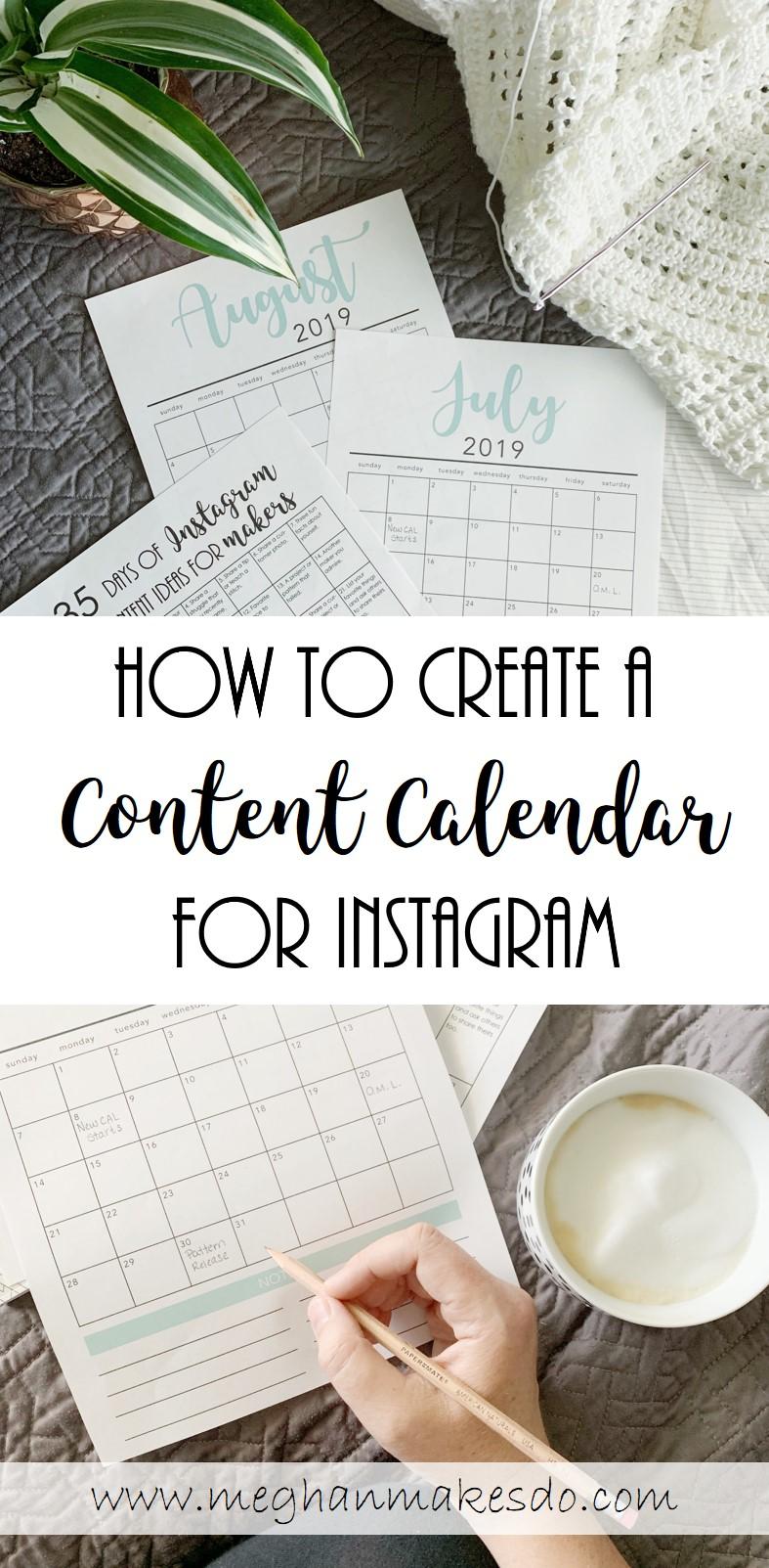 content calendar ideas for instagram