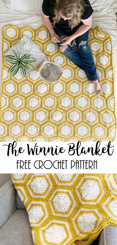 crochet hexagon blanket free pattern