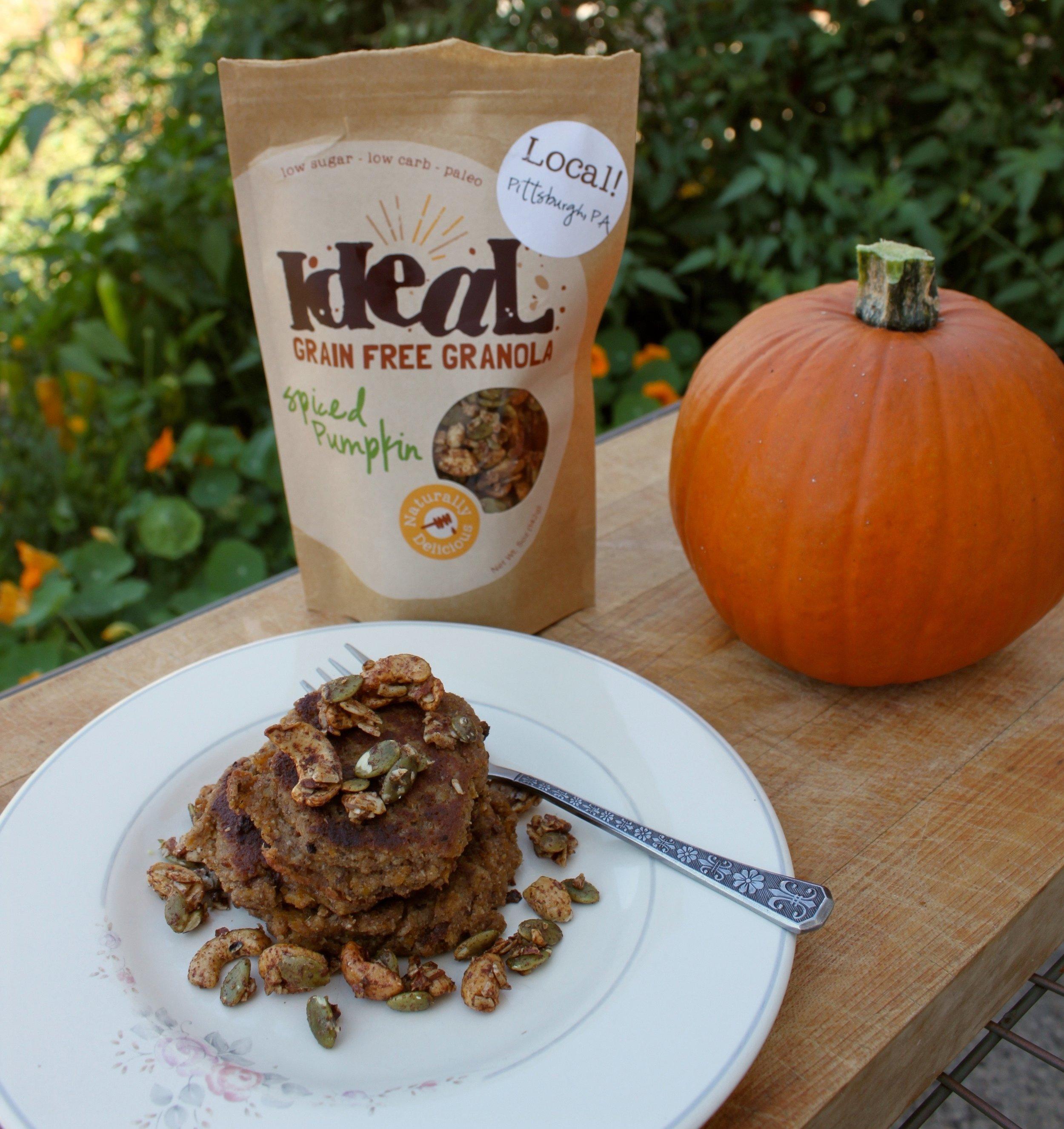 Coconut Flour Pumpkin Pancakes with Ideal Grain Free Granola