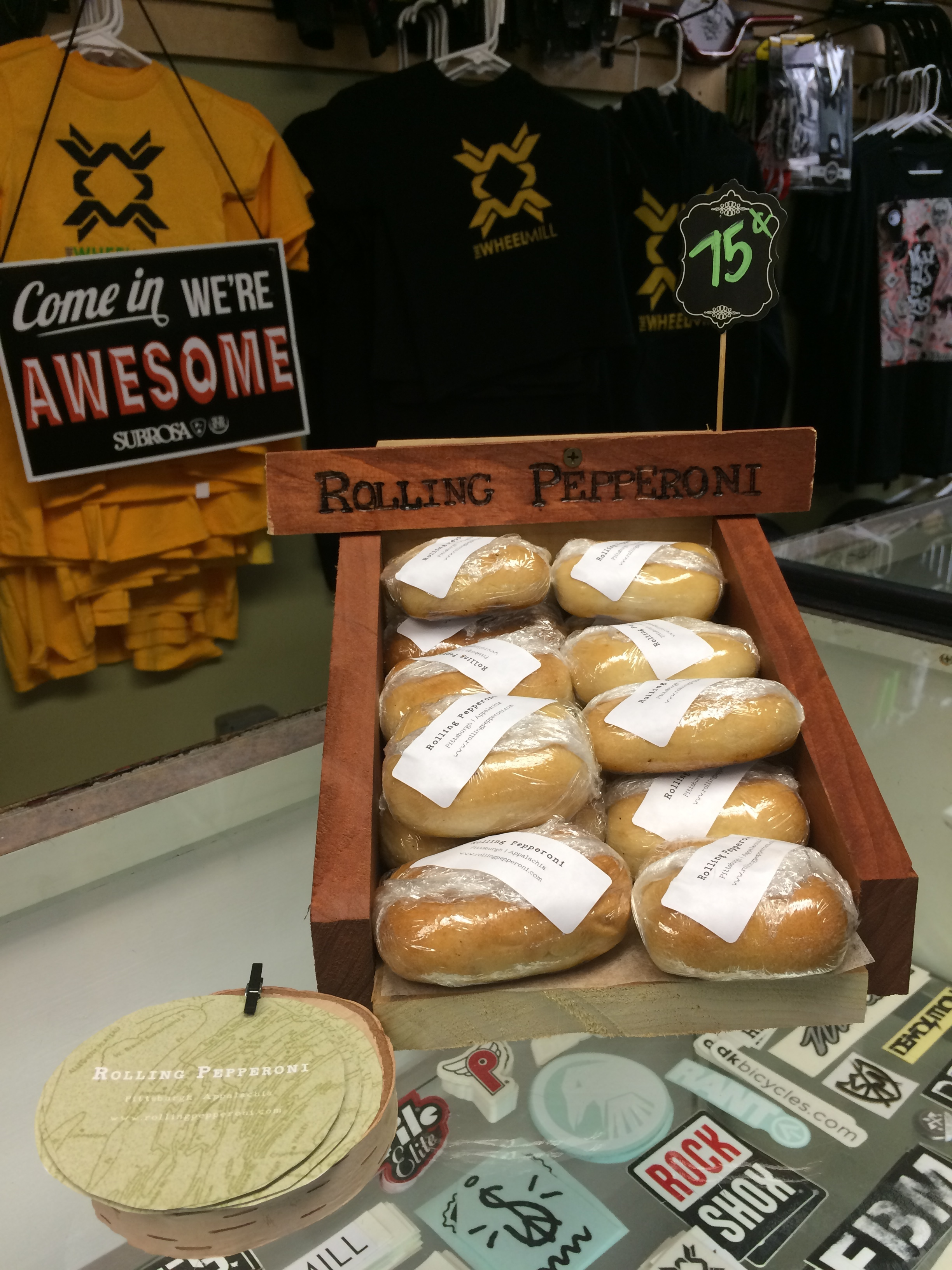 Rolling Pepperoni's first time selling pepperoni rolls at TWM for $0.75! Also, first time owner Katt Schuler used a hand saw to make this display, which is still in use at Tom Fridays in Brighton Heights.