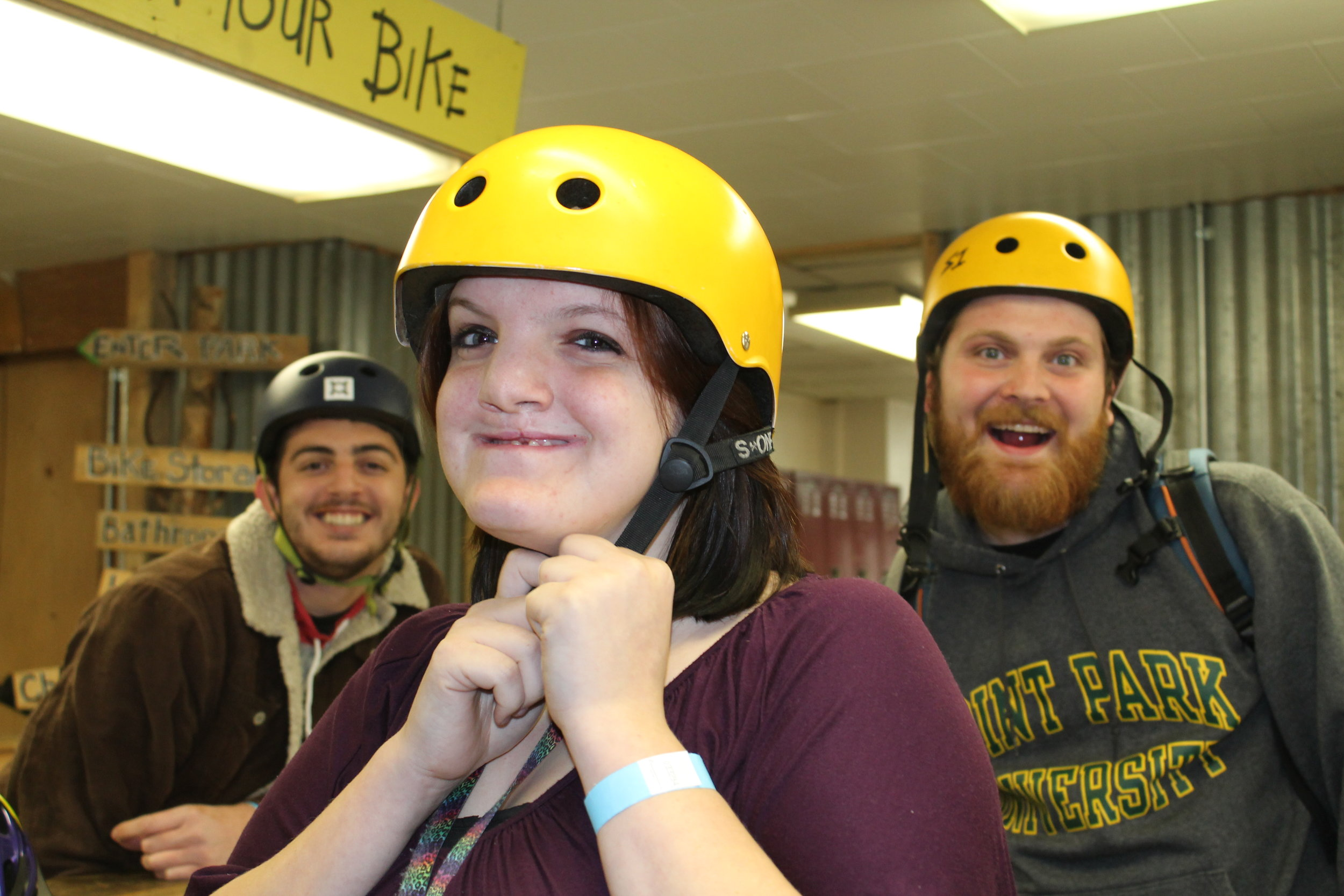 Outdoor Adventure Club students from Point Park University test out their skills at The Wheel Mill.