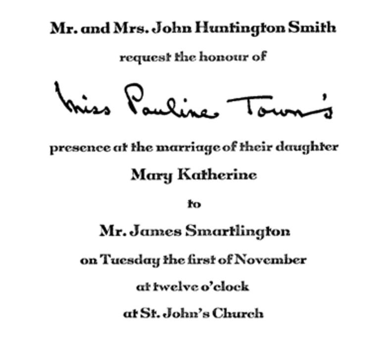 Invitation with hand-addressing to the guest on the invite