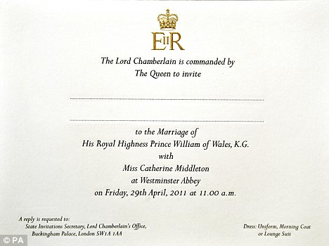 William and Kate's Royal invitation