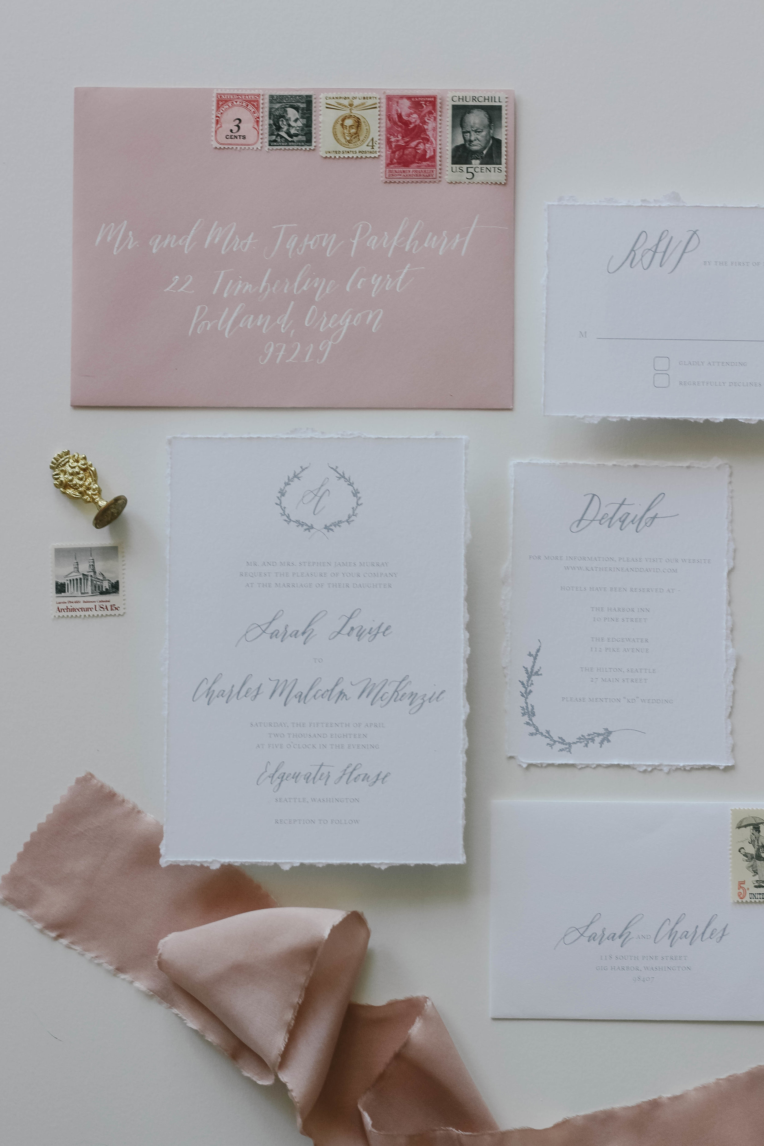 Cascade - A romantic, monogrammed invitation suite