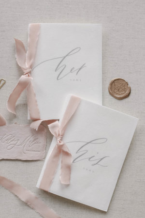 Calligraphy Wedding Vows Book  Handmade Paper with Sage Green Silk Ribbons