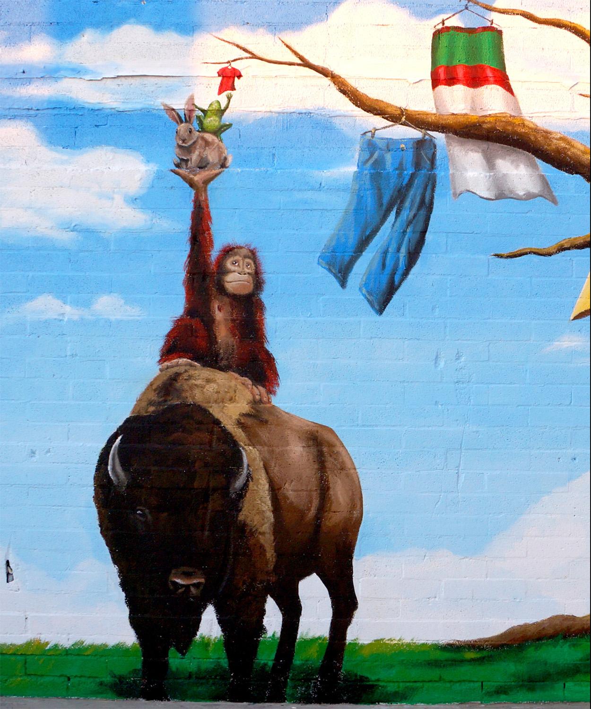 Detail from Buffalo Exchange mural in Las Vegas, Nevada