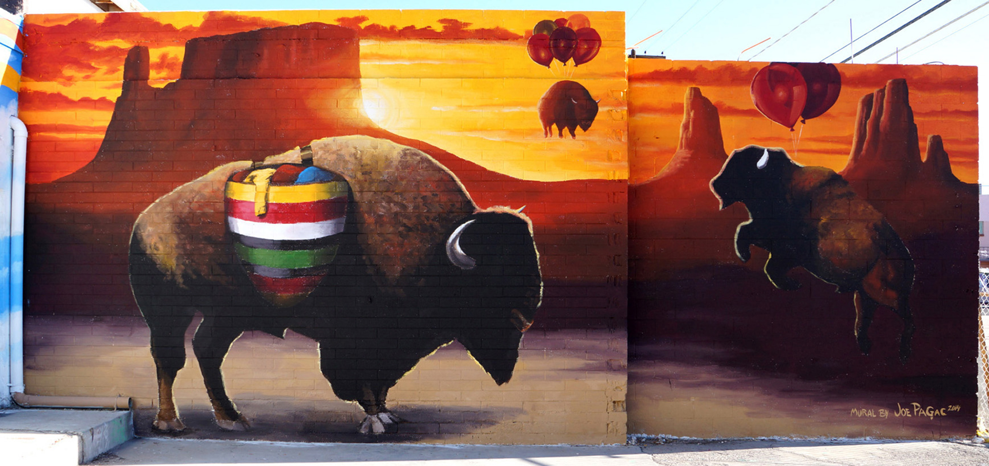 """Detail from """"Way of the Buffalo"""" mural on the side of Buffalo Exchange in Las Vegas, Nevada"""