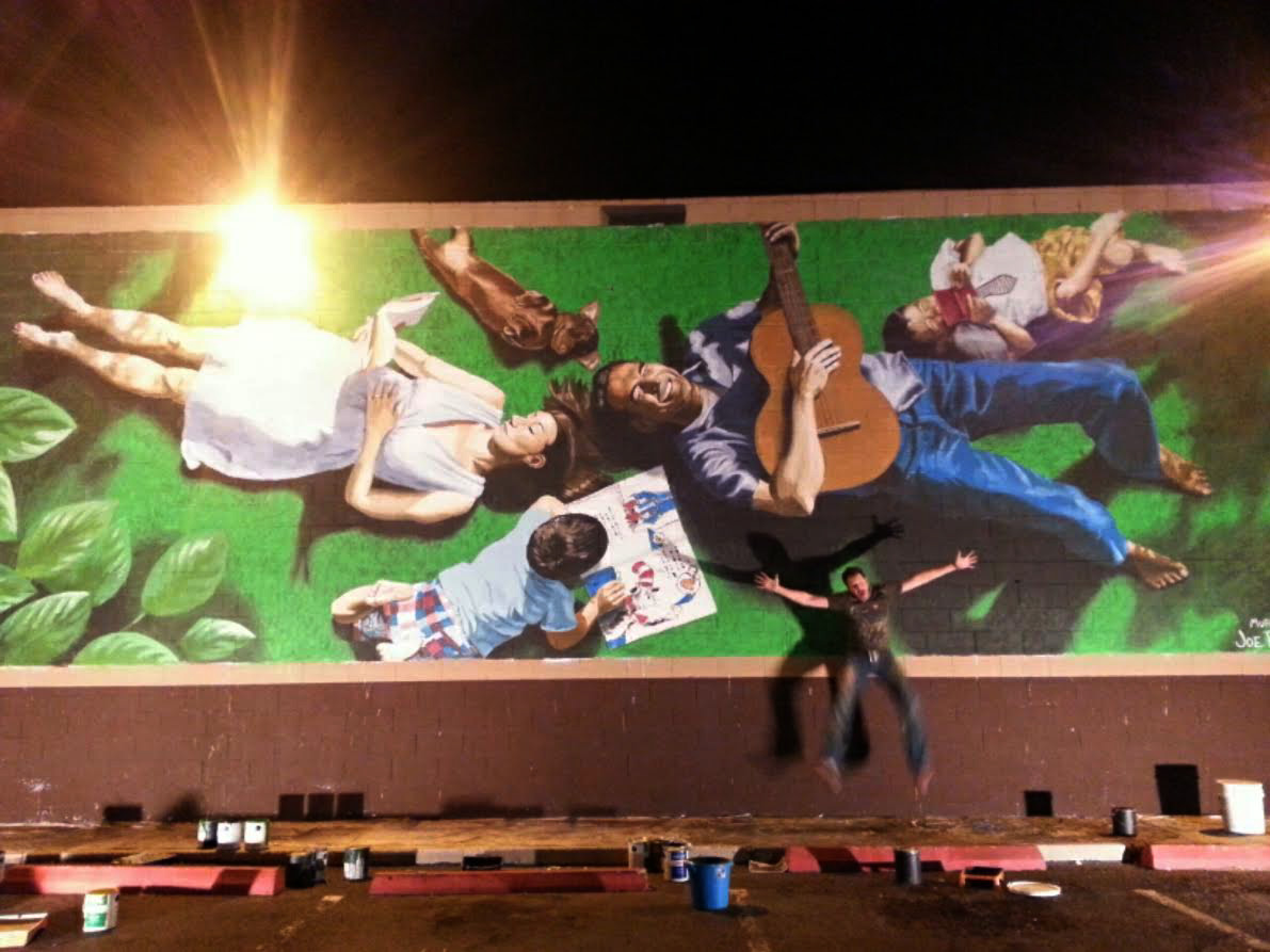 """""""Lazy Sunday"""" mural on the side of Bookman's Entertainment Exchange"""