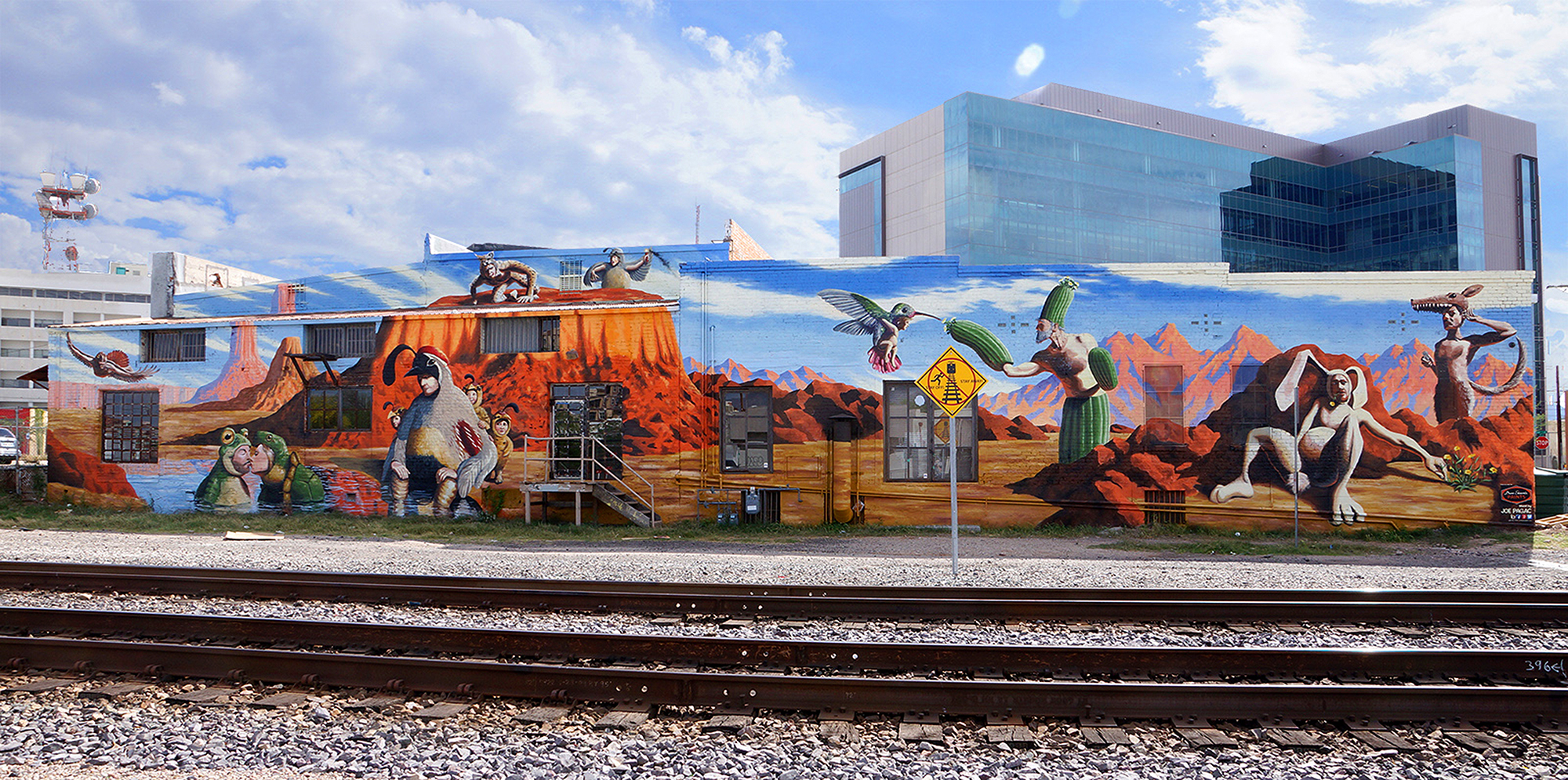 """""""Borderlands"""" on the back of Borderlands Brewery in Tucson, Arizona"""