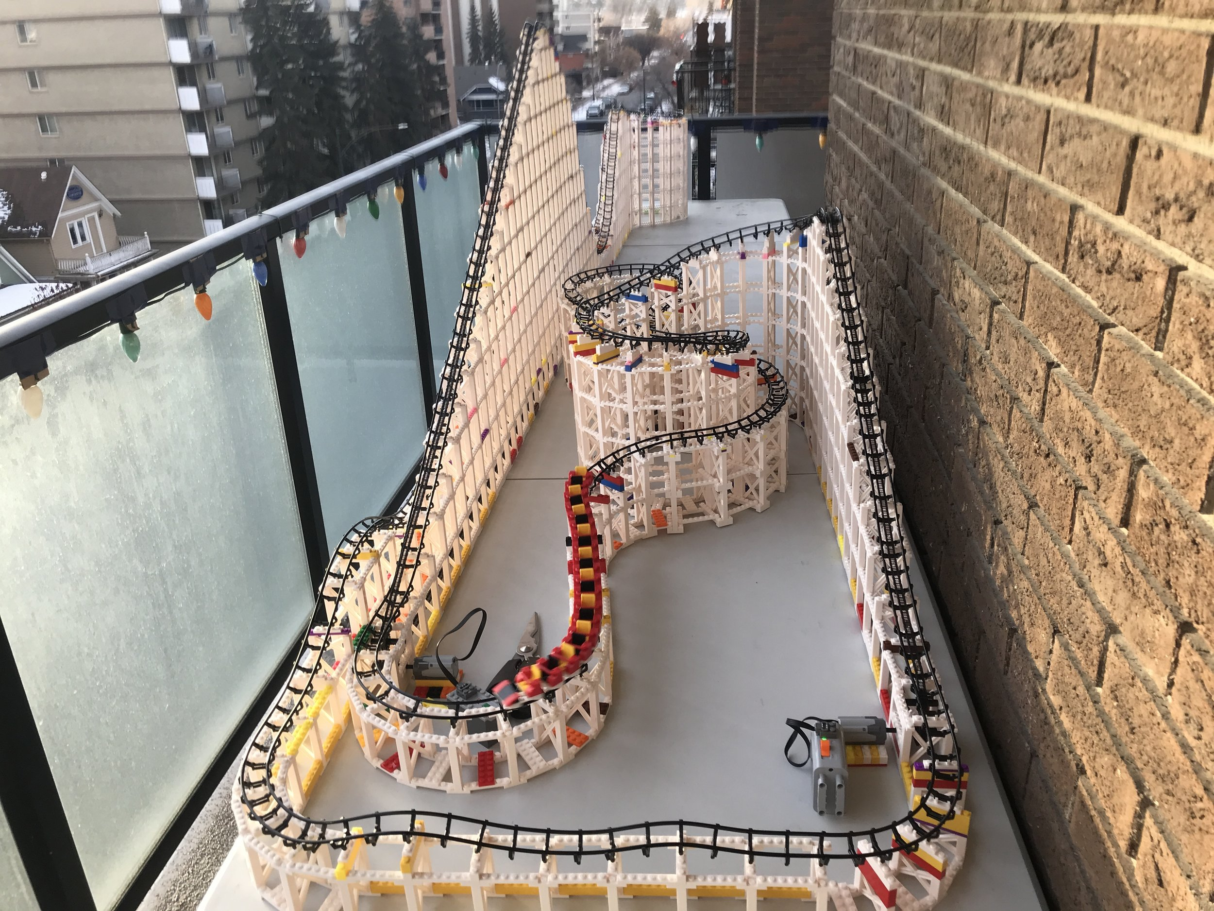 This was built with nine Cyclone sets plus some other bricks and two motors. It's 12 feet long and 3 feet wide.