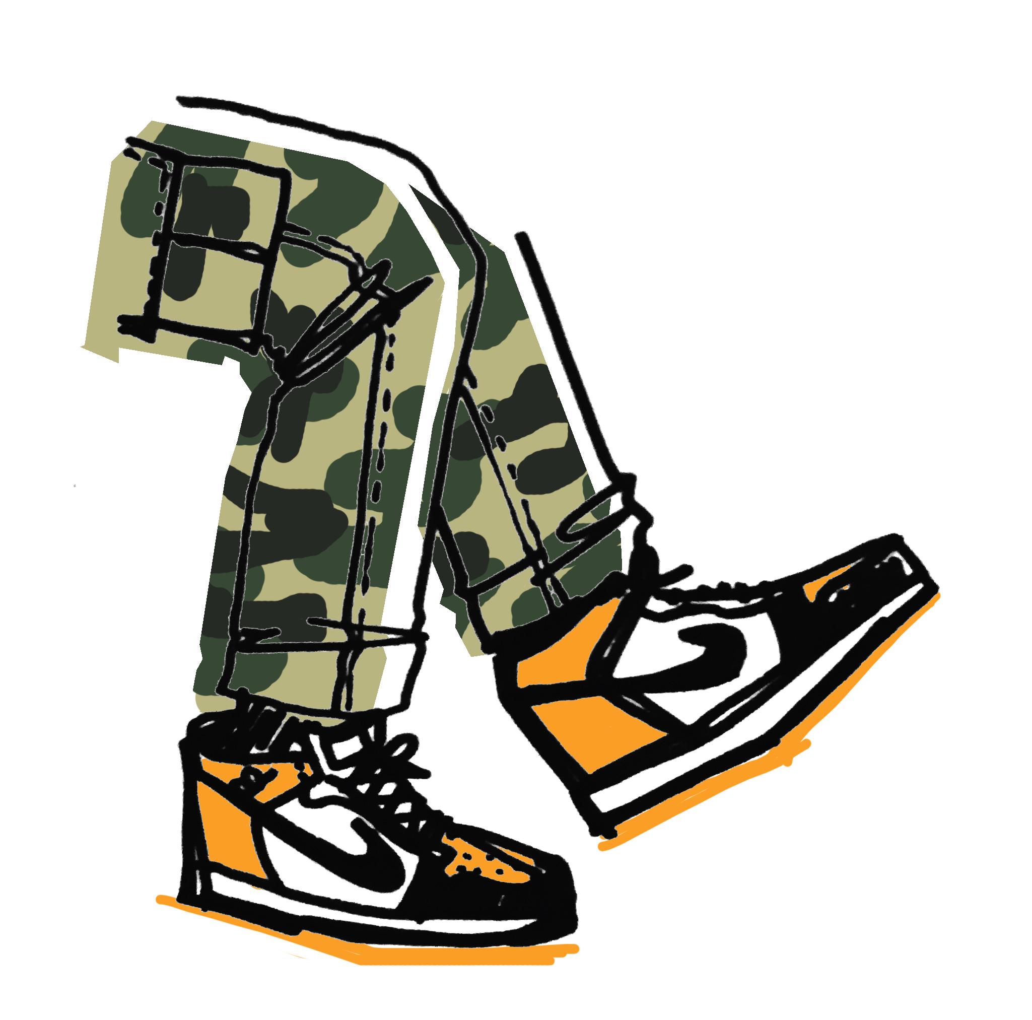"""Camo Pants Orange Nikes"" Print"