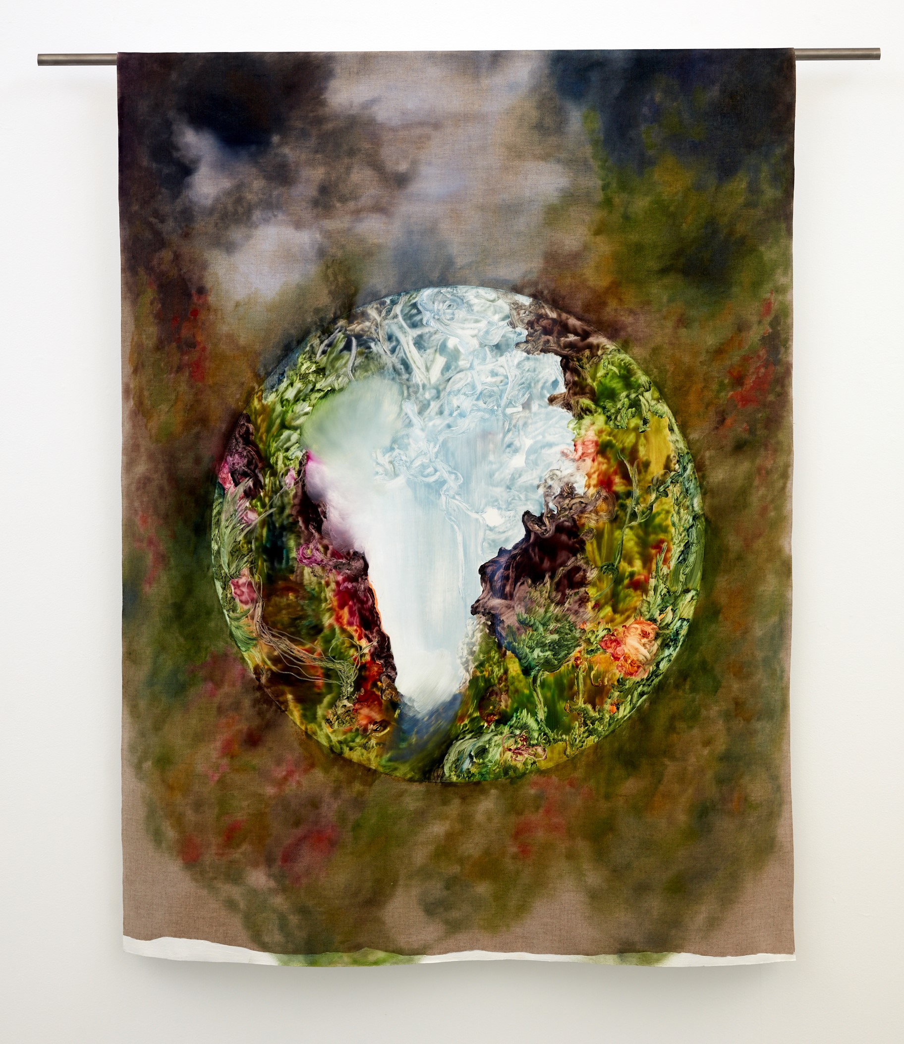 Viriditas    oil and interference paint on linen,  1000mm x 1370mm
