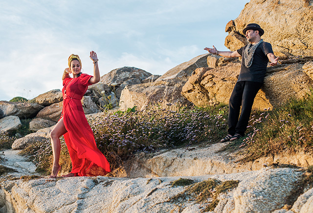 1. Louie and Anane Vega on the rocks of Scorpios facing Sunset in anticipation of the first Sunset Ritual in the series. May 2015.