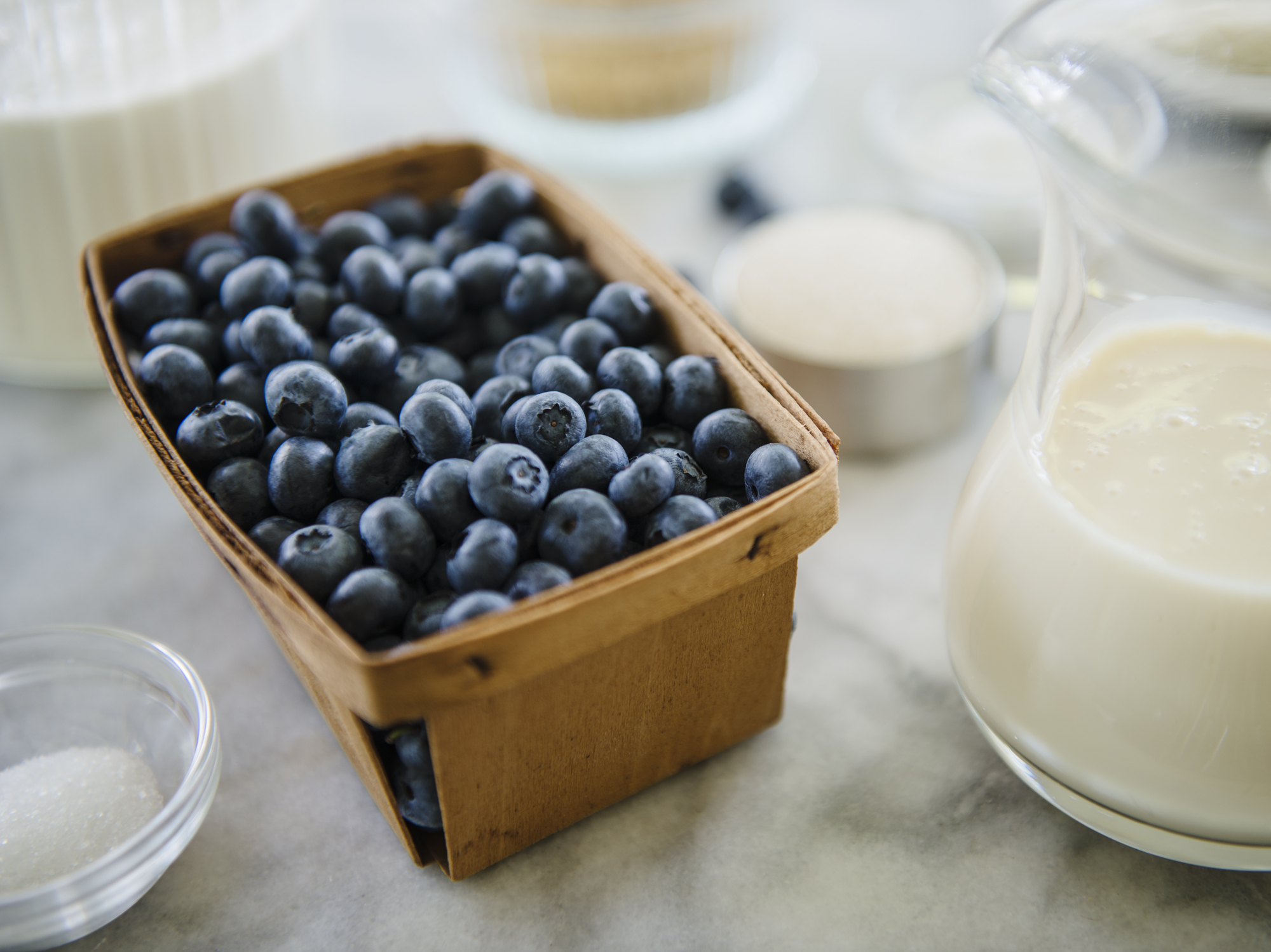 Choose blueberries that are small firm, plump, fragrant with a dark rich berry color and a dusty white bloom, which is their natural protection from the sun. You can also use frozen Wild Maine blueberries.