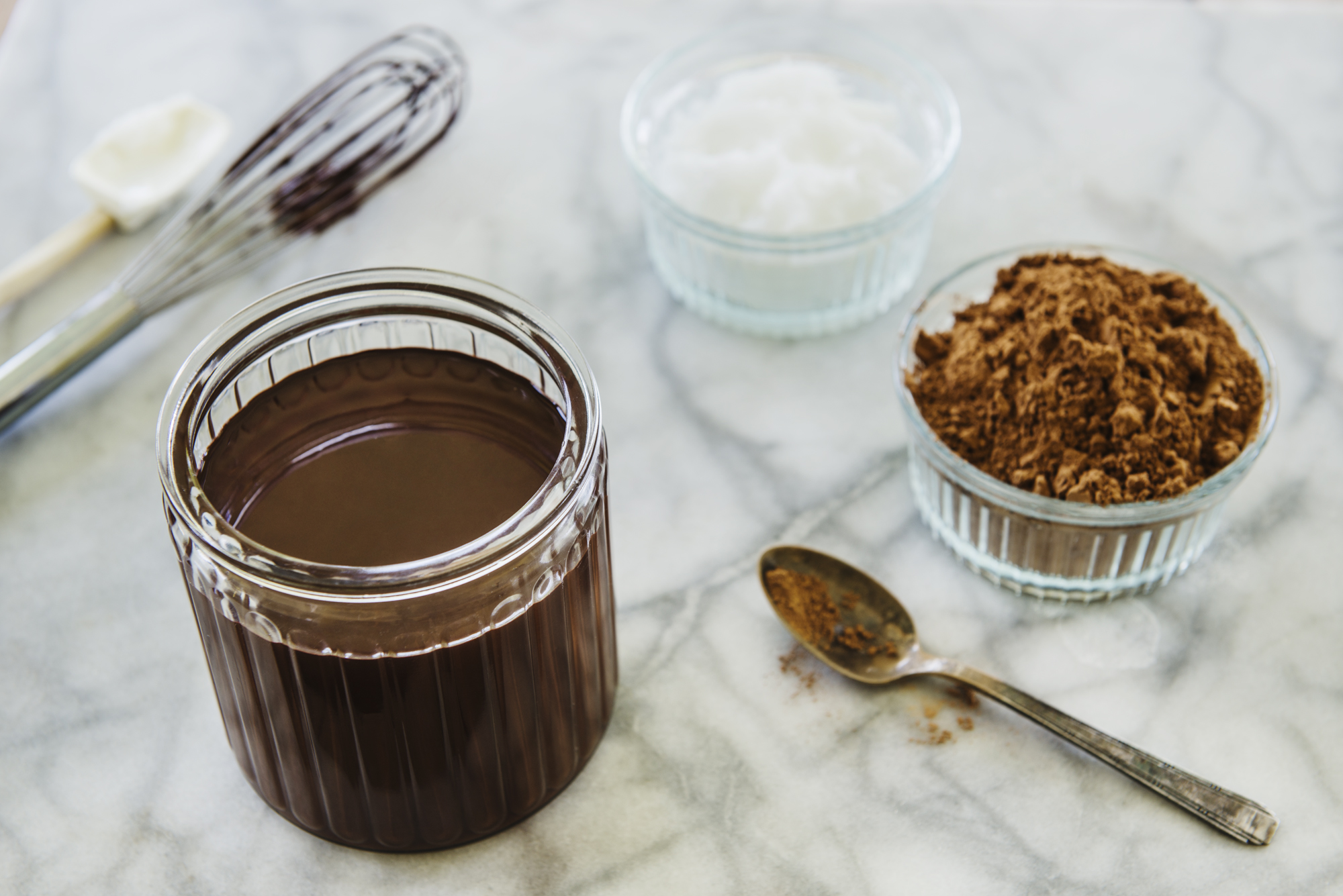 Chocolate Magic Shell   makes ~1½ cups    Ingredients   · 12 Ounces of Pure Unsweetened Cacao or Sweetened Cocoa Powder  · 8 Ounces of Virgin Coconut Oil   Directions   1. Measure the coconut oil into a 4 cup liquid measuring cup. This allows room for stirring in the cacao powder.  2. Slowly and gradually stir the cacao powder into the coconut oil until the mixture becomes homogenous and smooth.  3. Store in a 2 cup tightly covered lidded glass jar at room temperature until ready for use.  4. Upon request for a chocolate covered popsicle, uncover the popsicles one at a time and dip into the sauce.