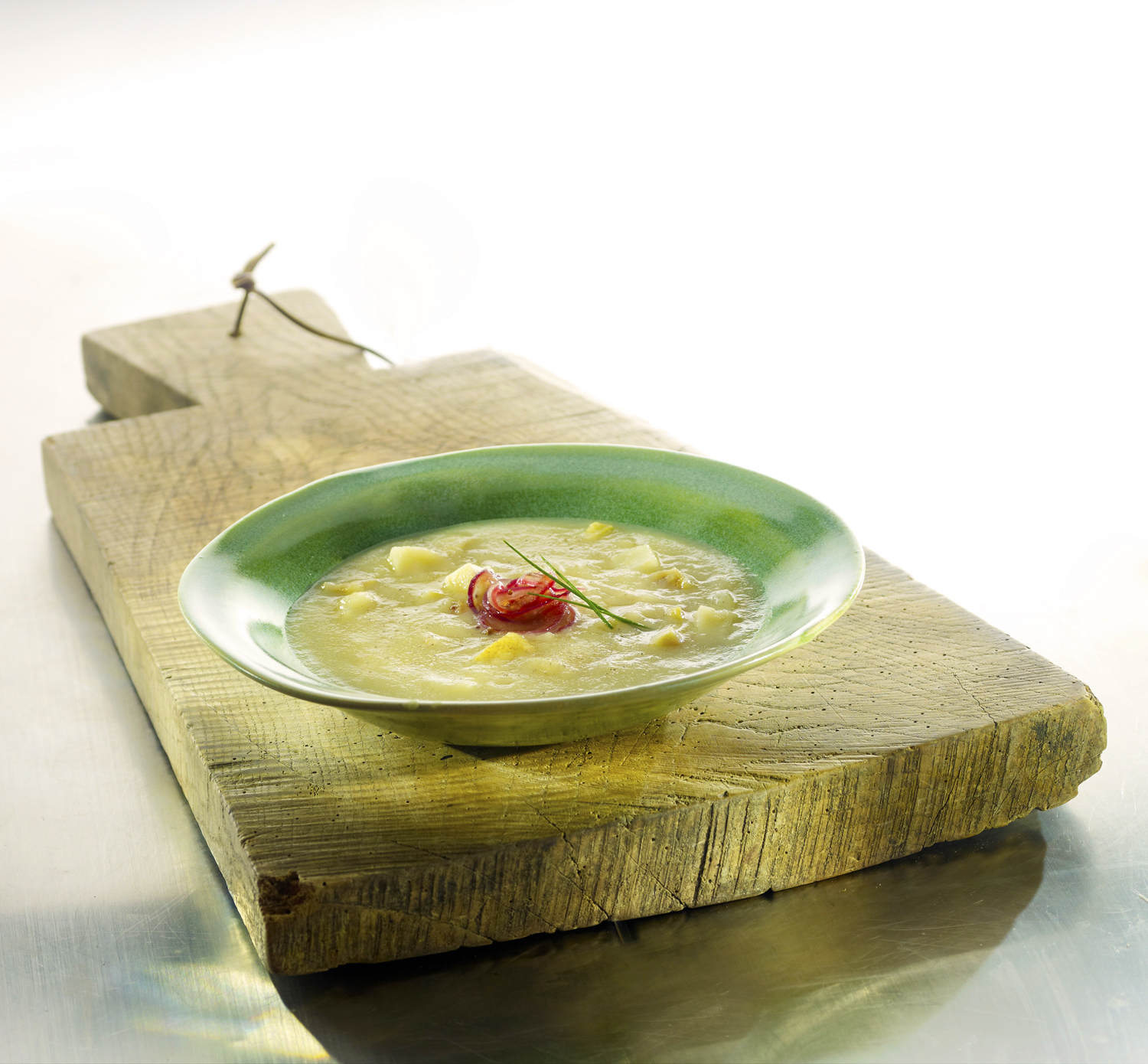 Celeriac and Pear Soup with Pickled Red Onions  Photo by David Bishop