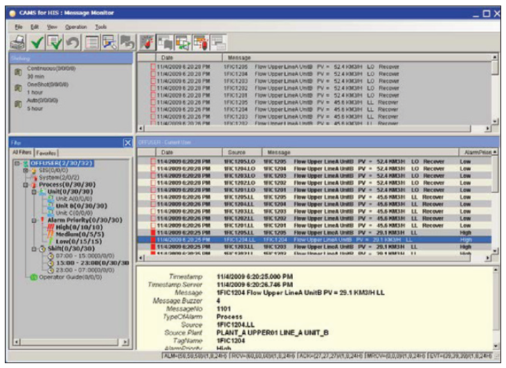Figure 3: Alarm summary window is an effective tool for displaying alarms to operators in a manner allowing quick and comprehensive response