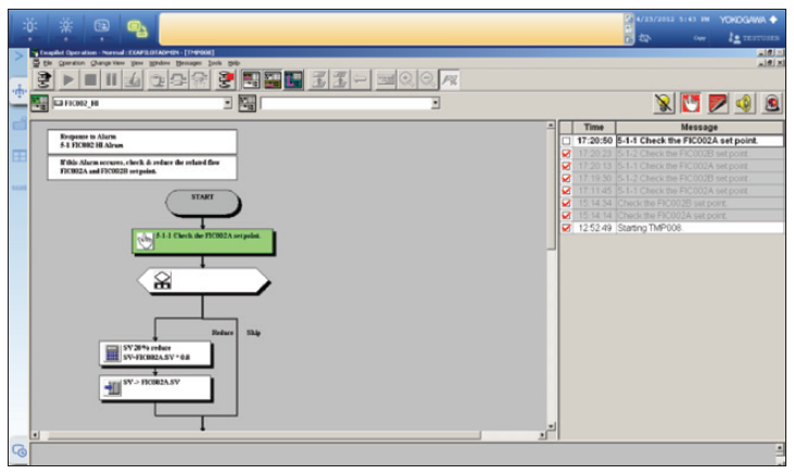 Figure 4: This advanced alarm summary window uses a flow chart to display what sequence of actions should be performed by the operator in response to a particular alarm