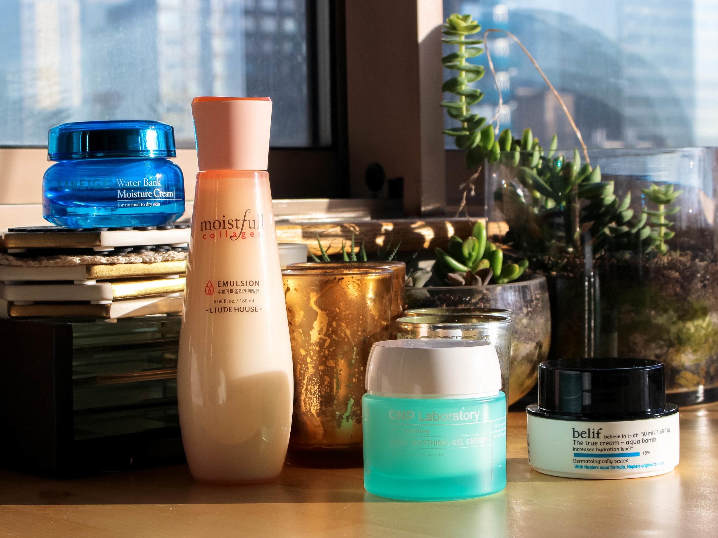 laneige water bank moisture cream  // etude house moistfull collagen emulsion  // cnp laboratory aqua soothing gel cream