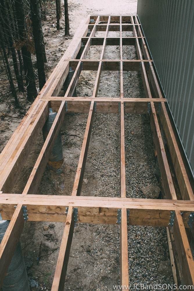 Galvanized joist hanger brackets were used with galvanized joist hanger nails to get flush beams keeping the framing off of the ground even at the lowest end.