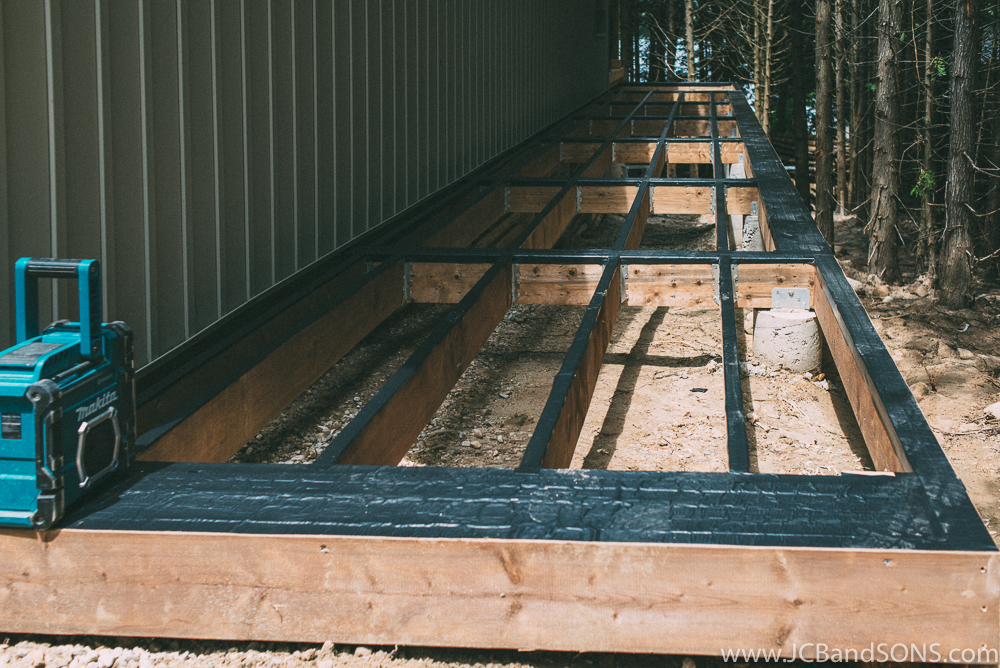 Deck flashing was used on the top of all the framing to ensure the top of the framing will not rot.