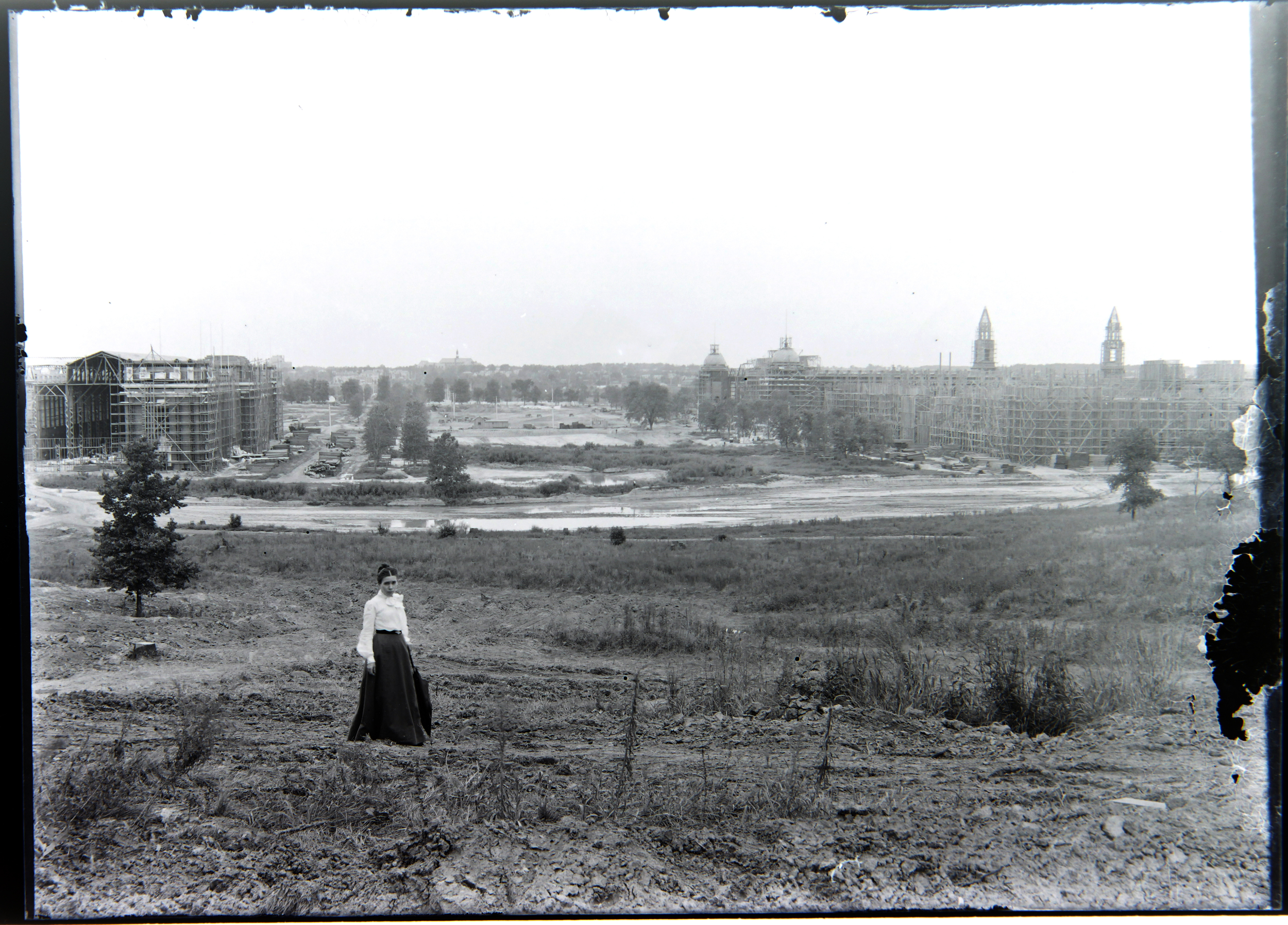 Here you can see a view looking east at Forest Park in St. Louis, MO during the building of the great World's Fair of 1904. This photo c. 1902.