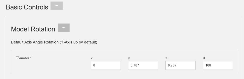 """By setting these values displayed and checking the """"enabled"""" box, Conjure will default a more centered model (?)"""
