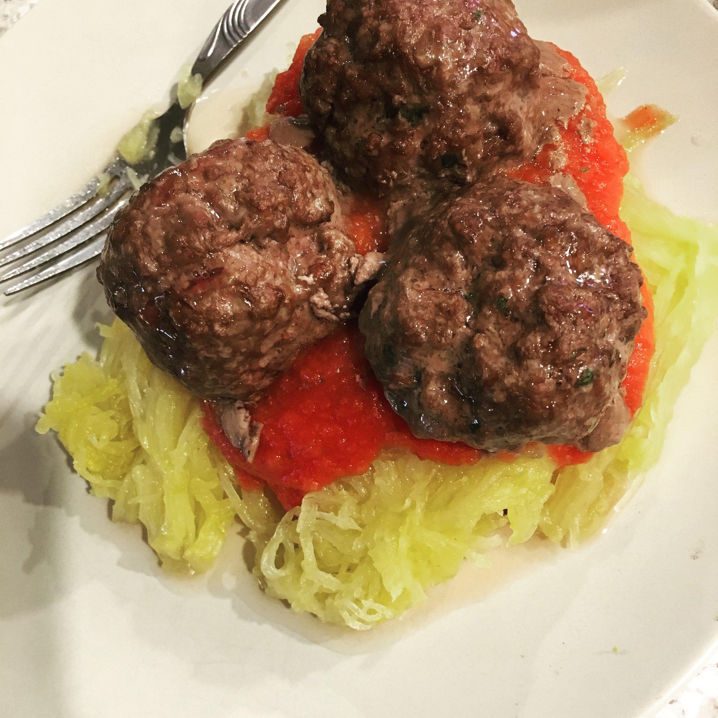 grassfed meatballs over spaghetti squash