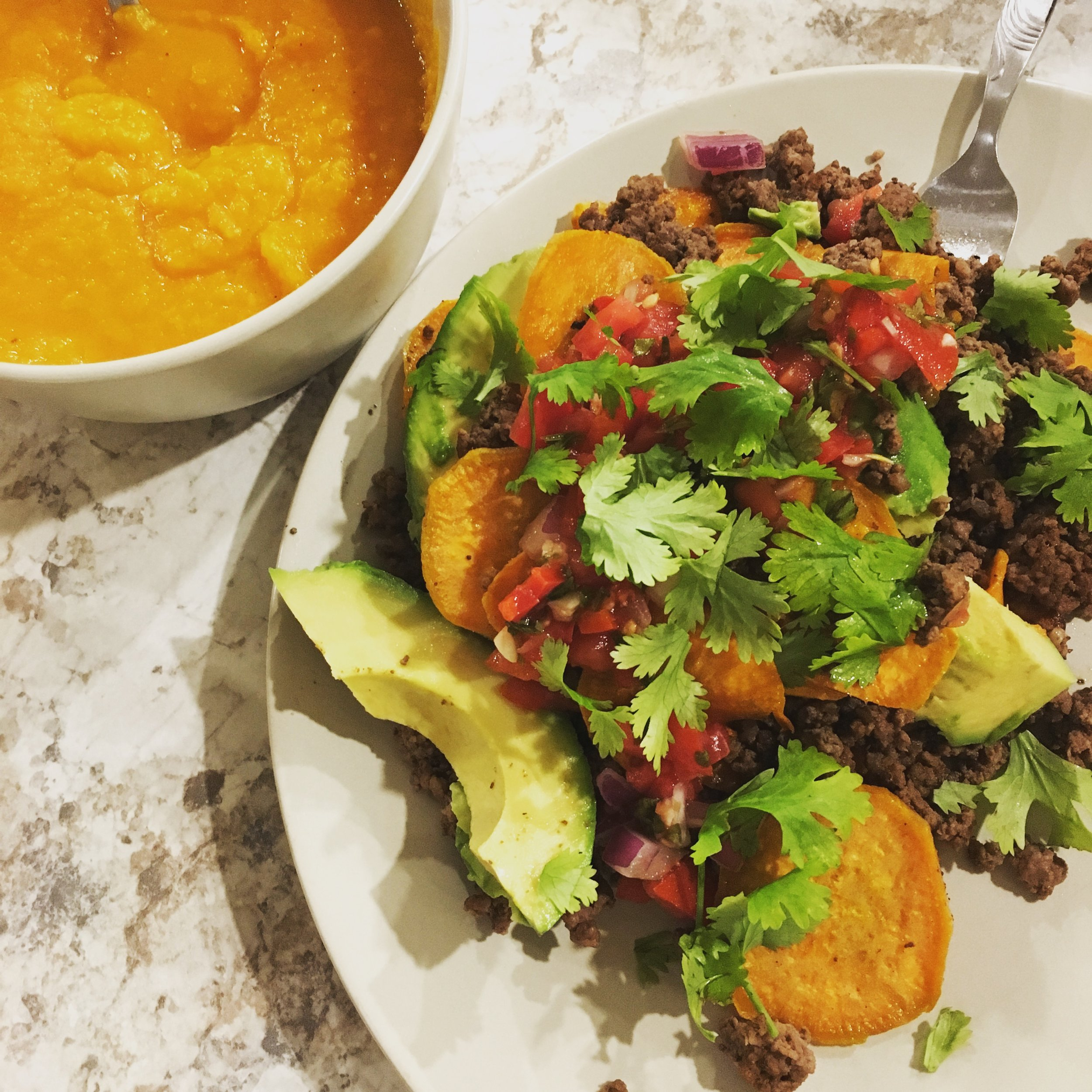 sweet potato nachos w/ beef, toppings, and butternut squash soup on the side