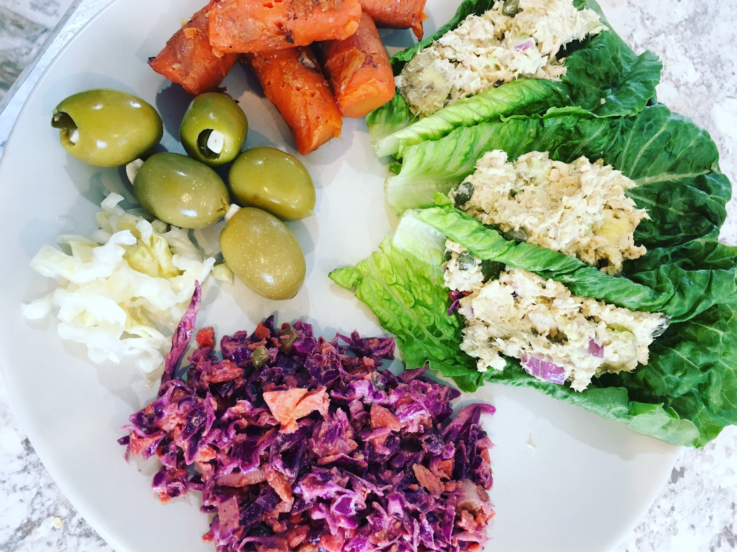 rosemary carrots, green olives, 'kraut, mexican slaw, and tuna salad wraps