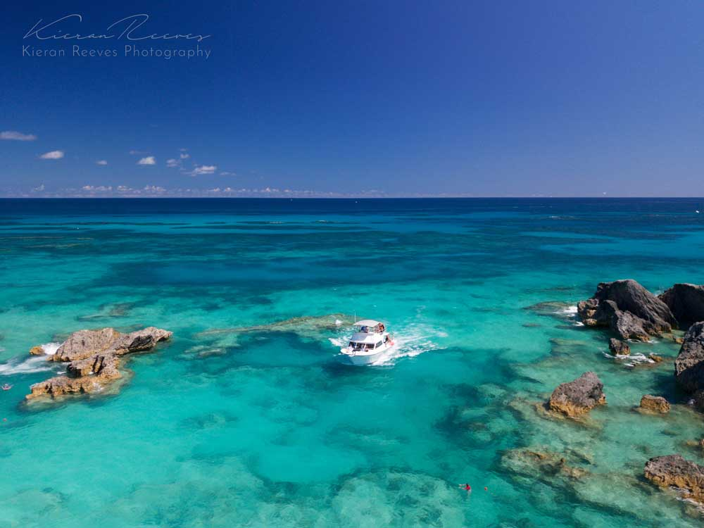 Our custom designed dive boat,  Narcosis , returning from a trip on our local reef.