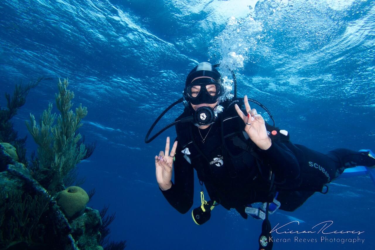 One of our divers having fun exploring Bermuda's reef!