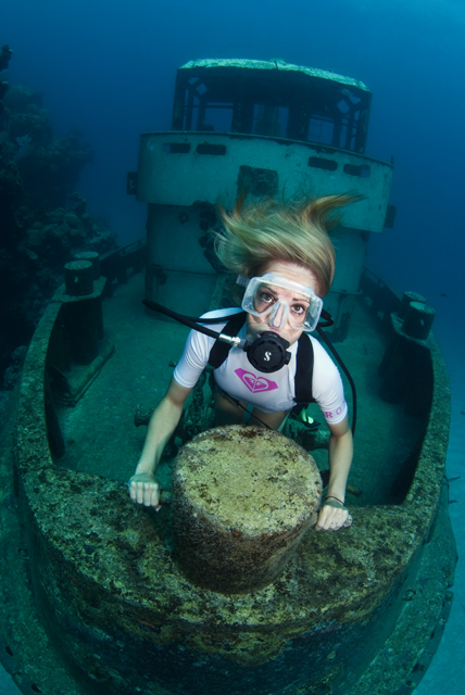 One of our popular shipwrecks,   The Forceful  , located a short boat ride away from our dive center.