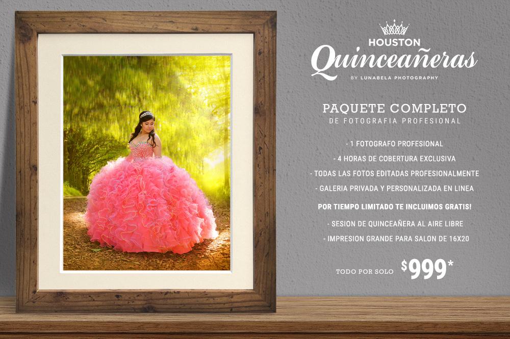 Paquete Completo de Fotografía Profesional para Quinceañera en Houston, Texas.