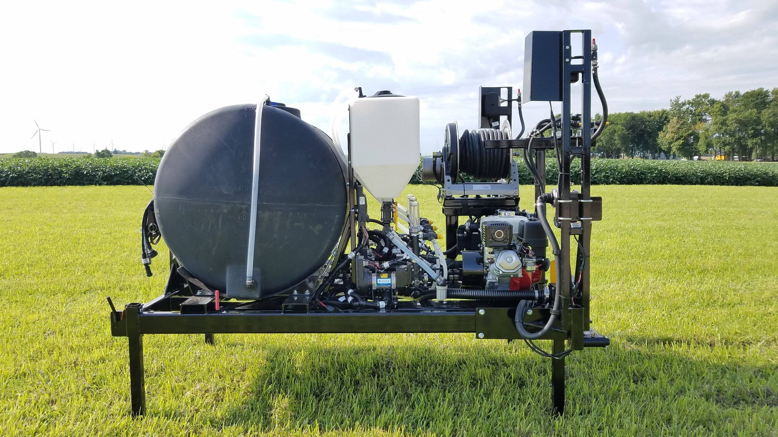 Load this sprayer in the back of your pickup or pick it up with your tractors 3-pt. to spray road ditches or pastures among other things. Includes gas powered centrifugal pump along with the capability of direct injecting up to three chemicals and separate spray wand and hose reel.