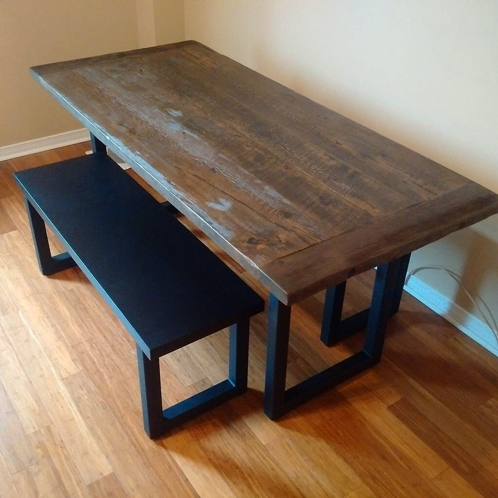 Stained Reclaimed Top with Square Steel Base
