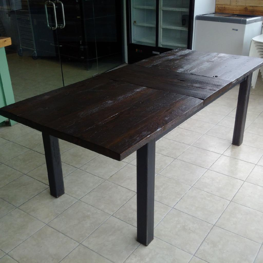 Stained Reclaimed Hemlock Top with Extension and Matching Post Base