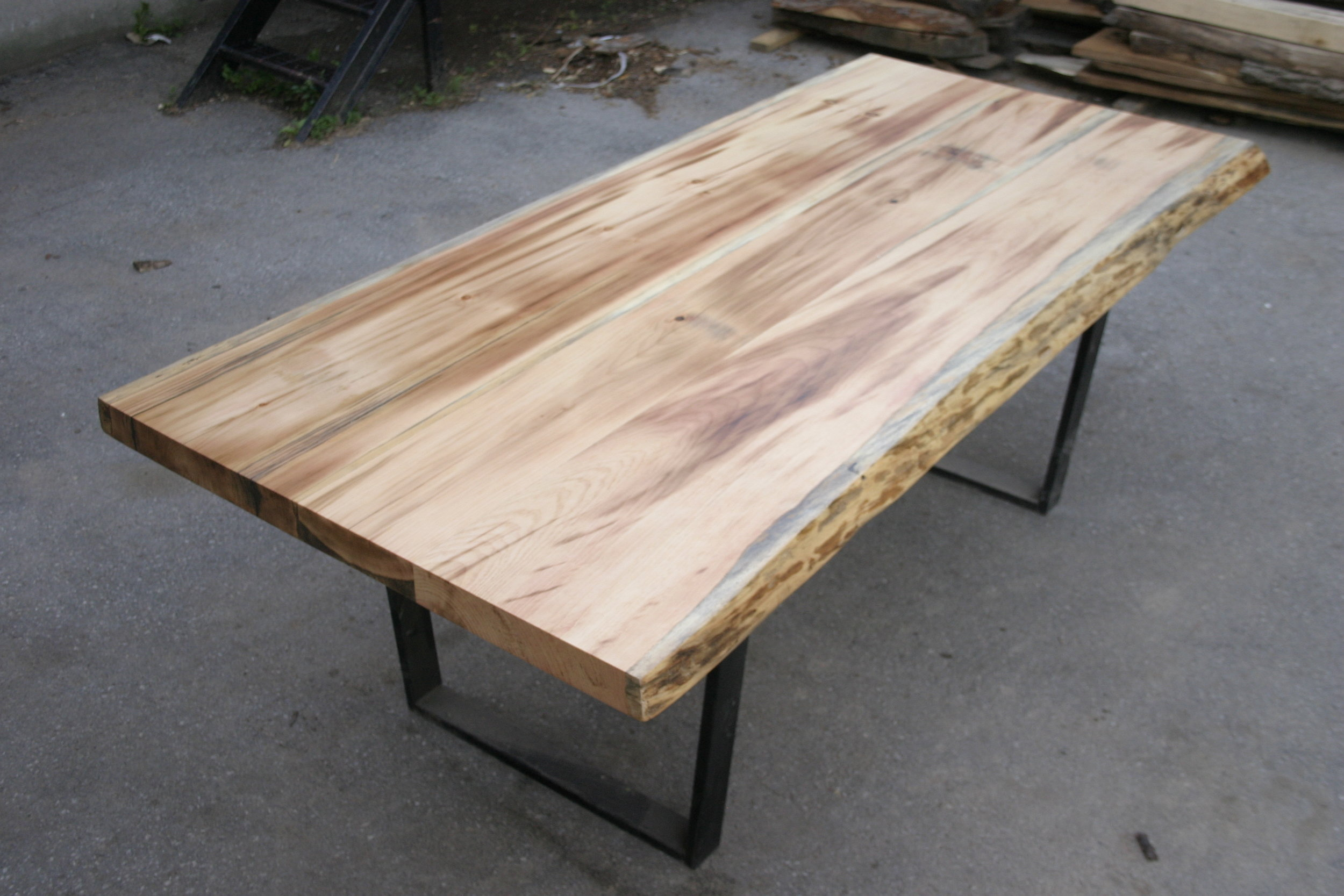 Live Edge Pine Top with Square Steel Base