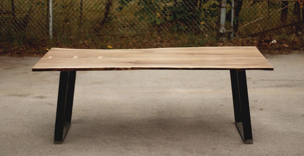 Live Edge Top with Trapezoid Steel Base