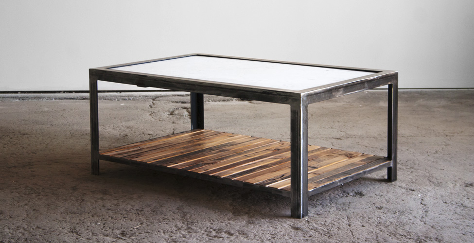 Salvaged Marble Top with Steel and Slatted Wood Base