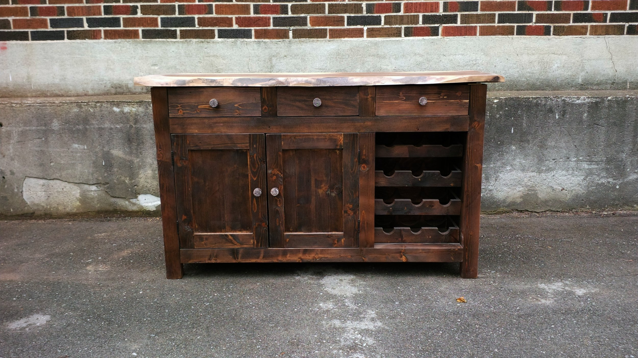 Reclaimed Lumber Hutch with Live Edge Walnut Top