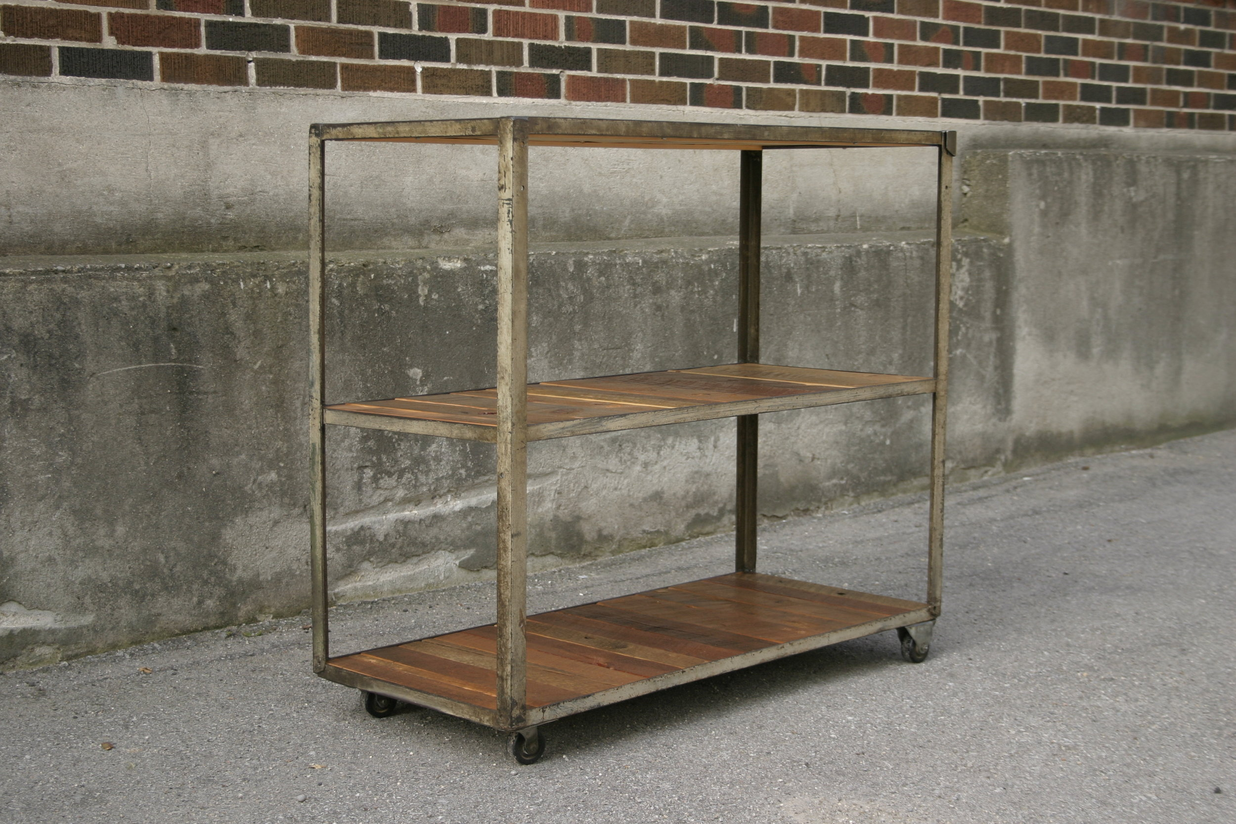 Shelving Unit with Reclaimed Lumber and Steel