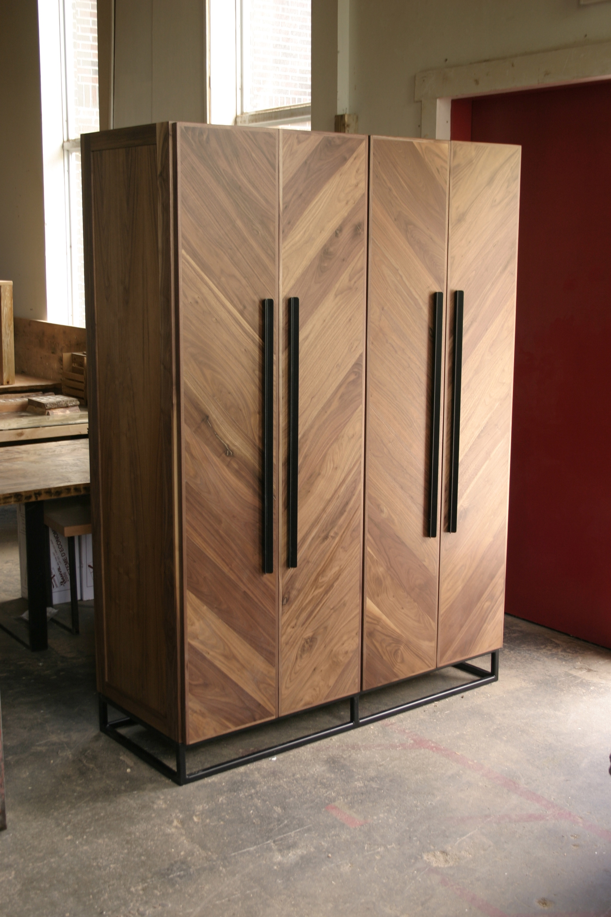 Custom Chevron Walnut Armoire